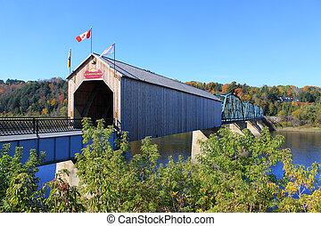 brug, florenceville, houten, nieuw, bedekt, brunswick