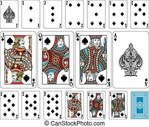 brug, grootte, spade, speelkaarten, plus, keerzijde