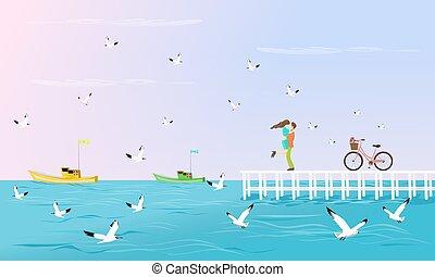 brug, hebben, seagulls, stellen, gekoesterde, fiets, breidt zich uit, sea., achtergrond, naast, witte , scheepje, visserij