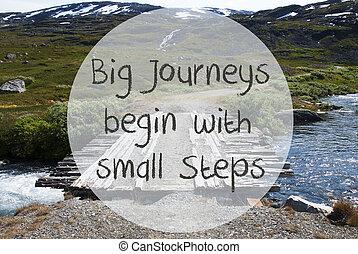 brug, in, noorwegen, bergen, noteren, groot, reizen, beginnen, met, kleine, stappen