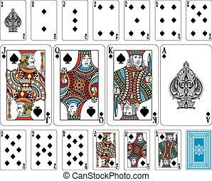 brug, keerzijde, plus, kaarten, spelend, spade, grootte