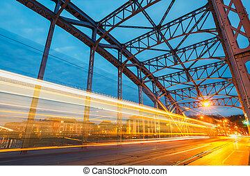brug, krakow, tram, licht, abstract, pilsudzki, spoor, polen