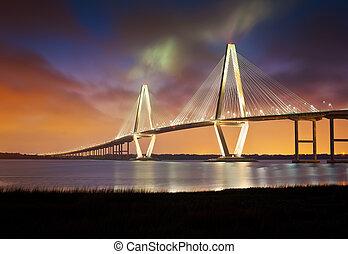 brug, kuiper, punt, ravenel, jr, arthur, patriotten, ophanging, sc, charleston, rivier, zuidelijke carolina