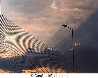 brug, lightpost, wolken, doorbraak, sunbeams, door, ...