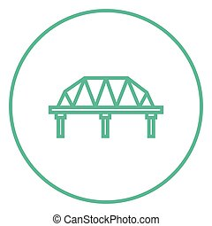 brug, lijn, bevestigingslijst, icon., weg