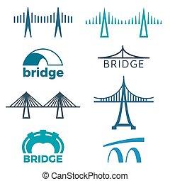 brug, logos, verzameling, van, illustraties, vrijstaand, op wit