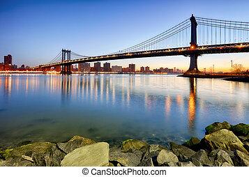 brug, manhattan, york, stad, nieuw