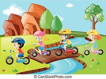 brug, op, fiets, kinderen, paardrijden