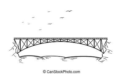brug, op, rivier