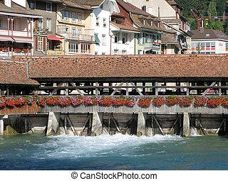 brug, oud, houten, dam, thun, zwitserland