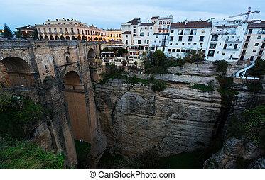 brug, oud, ronda., andalucia, morgen, vroeg