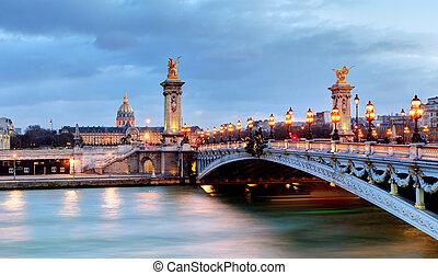 brug, parijs, zegen, 3, rivier, iii, alexandre