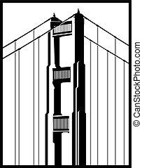 brug, pictogram, poort, gouden