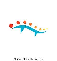 brug, rivier, zon, vector, logo, ontwerp, golven