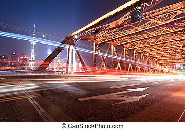 brug, shanghai, verkeer, tuin, nacht