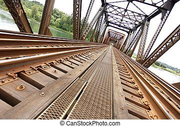 brug, spoorweg, oud