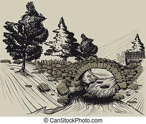 brug, steen, oud, hout, rivier, door