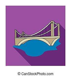 brug, stijl, illustration., plat, symbool, vrijstaand, achtergrond., vector, architect, witte , pictogram, liggen