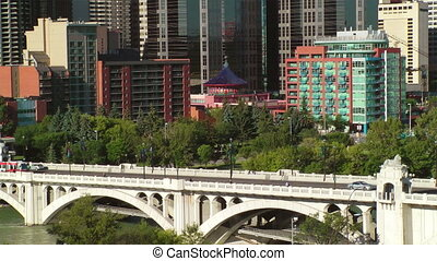 brug, straat, centrum