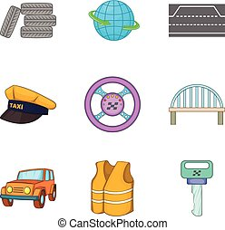 brug, straat, iconen, set, spotprent, stijl