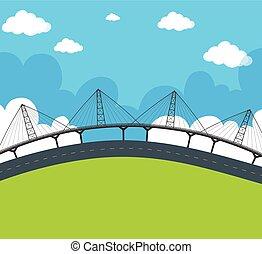 brug, straat, scène, lege
