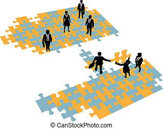 brug, toevoegen, zakenlui, teams, bouwen