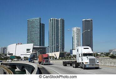 brug, usa, vrachtwagens, florida, miami, downtown