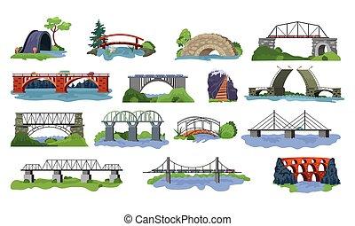 brug, vector, bridged, stedelijke , oversteekplaats, architectuur, en, bridge-construction, voor, vervoer, illustratie, set, van, rivier, bridge-building, met, carriageway, vrijstaand, op wit, achtergrond