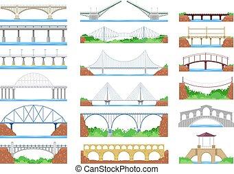 brug, vector, stedelijke , oversteekplaats, architectuur, en, bridge-construction, voor, vervoer, illustratie, bridged, set, van, rivier, bridge-building, met, carriageway, vrijstaand, op wit, achtergrond