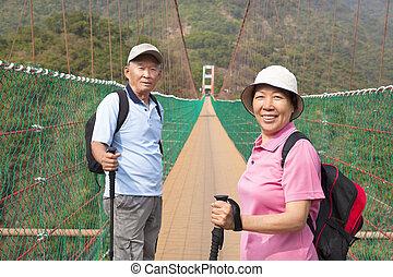 brug, wandelende, natuur, paar, park, aziaat, senior, vrolijke