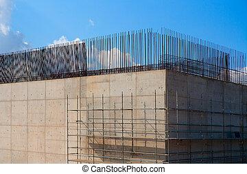 brug, zuil, beton, trein, kelderverdieping, versterkte