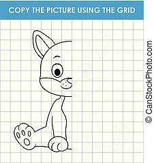 bruge, lines., grid, uddannelses, kopi, cute, kat, boldspil, billede, sitting., børn