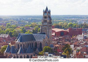 bruges, 上, sauveur, 教会, ベルギー, 大聖堂, れんが, 最も古い, st. 。, 光景