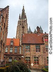 bruges, 伝統的なアーキテクチャ, 教会, ベルギー, 私達の, 女性