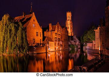 """Bruges, Belgium. Famous photo spot """"Huidenvetters plein"""",..."""