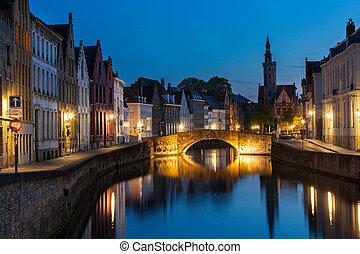 Bruges (Brugge) canal in the evening, Belgium