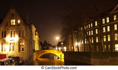 Bruges (Brugge) canal in the evening, Belgium. Time Lapse.