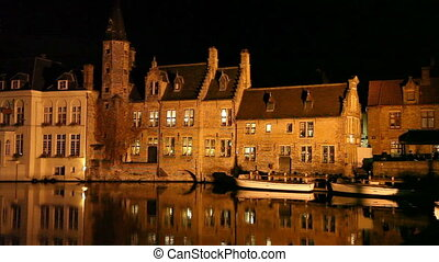 Bruges canal at night, Belgium - Bruges canal at night,...