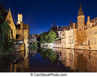 Bruges Canal At Night - One of the main canals at night with...