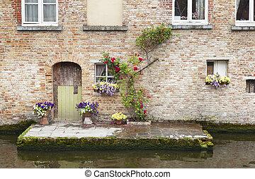 Bruges Canalside Building Facade