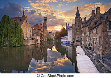 Bruges. - Image of famous most photographed location in...
