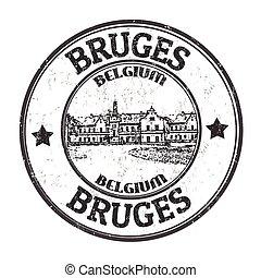 Bruges sign or stamp - Bruges grunge rubber stamp on white...