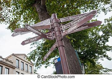 Bruges Street Signpost