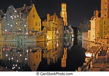 Brugge Downtown Canal At Night - Night time scene of center...