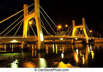 bruggen, city., phan, laag, tide., thiet