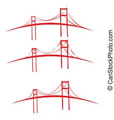 bruggen, ontwerp, vector, kunst, rood