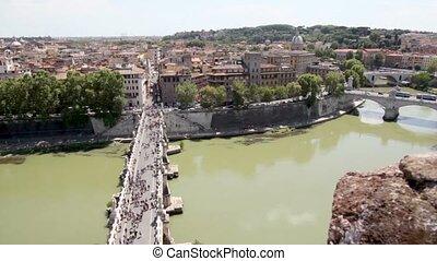 bruggen, shown, op, huisen, rivier, weinig, straat, burger