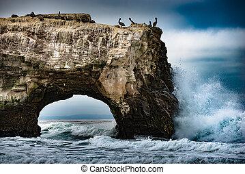 bruggen, staat, strand, natuurlijke