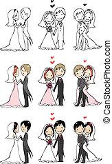 bruid, 3, bruidegom, actio, mooi en gracieus