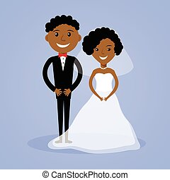 bruid, afro-amerikaan, bruidegom, spotprent